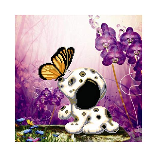 DIY Diamond Embroidery Painting Cross Stitch Kiss Dog Painting Home Decor