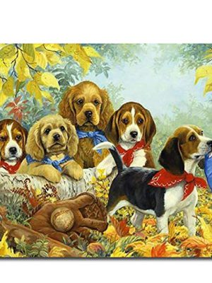 DIY oil painting, paint by number kit dog family 16 x 20 inch framed or unframed
