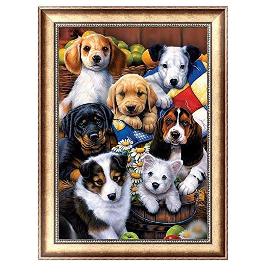 Dog Family DIY Craft 5D Diamond Embroidery Painting Cross Stitch Kit