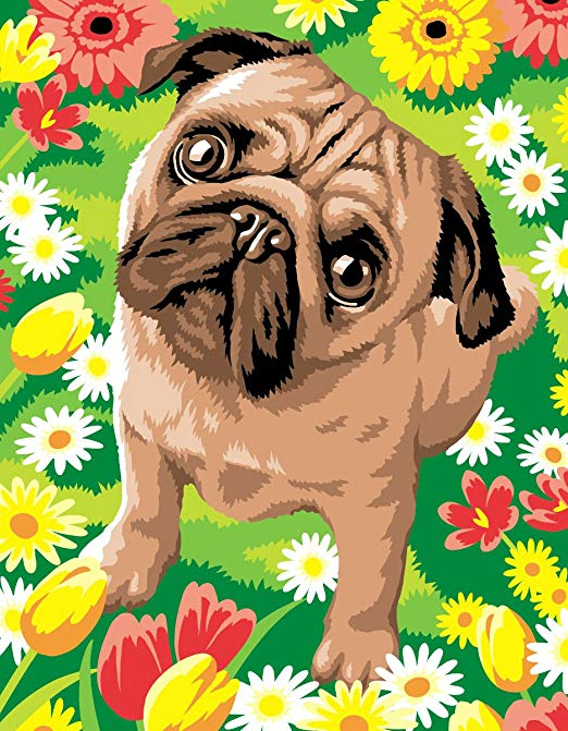 Junior Painting by Numbers Pug Dog with Flowers Paint Set