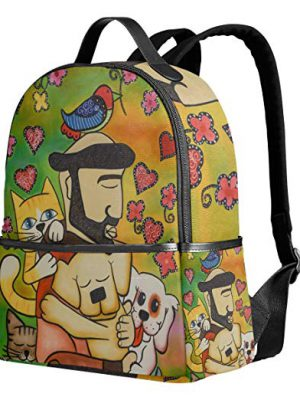 Dog and Cat Oil Painting Backpack for Boys Girls School Bag