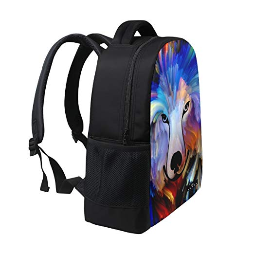Colourful Dog Painting Backpack 14 inch Laptop Daypack bag for Travel College School