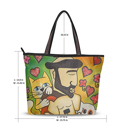 Women Tote Shoulder Bag Dog and Cat Oil Painting Handbag