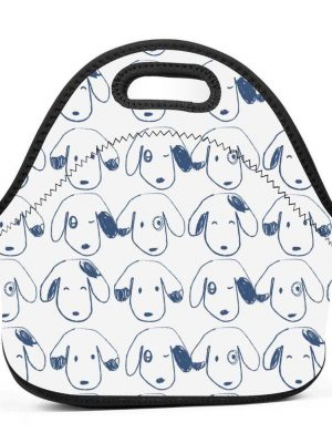 Neoprene Dog Painting Insulated Thermal Tote Bag with Zipper, Perfect for Lunch, Travel and Picnic Carry Case