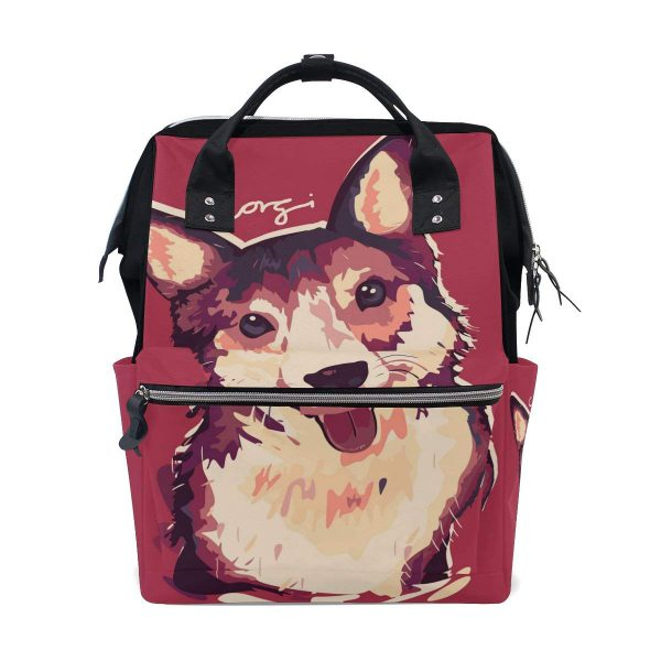 COOSUN Corgi Dog Painting Backpack with Insulated Pockets, Large Capacity and Multi-Function Style