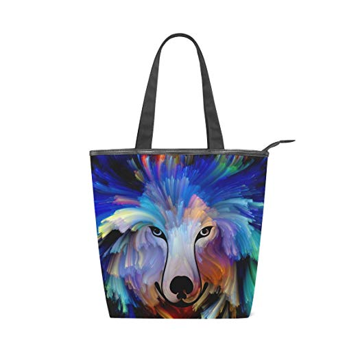 Colourful Dog Painting Womens Tote Canvas Shoulder Handbag