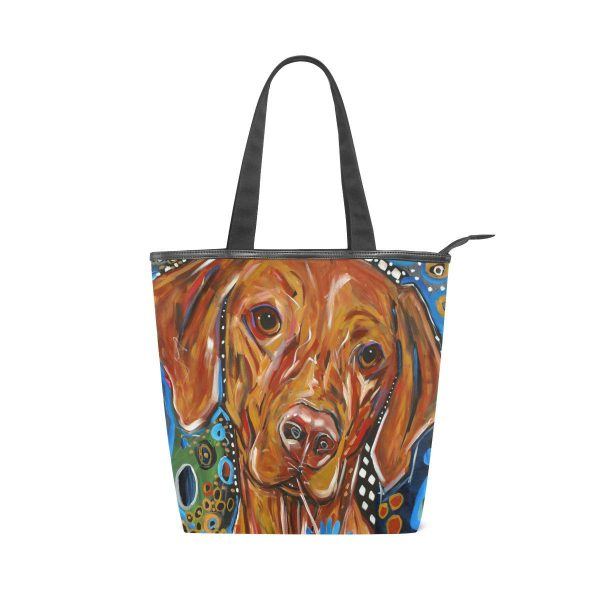 COOSUN Dog Painting Canvas Tote Zippered Shoulder Bag Purse