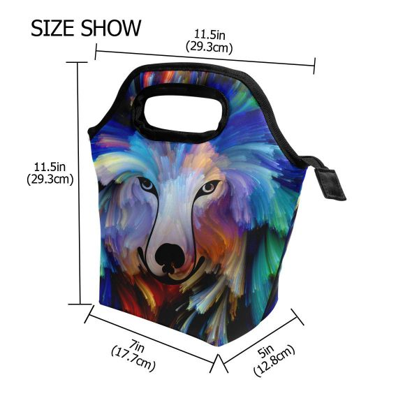 Colourful Dog Painting on a Reusable Insulated School Lunch Lightweight, zip closure, comfort grip Canvas and Insulated aluminium film handle Bag