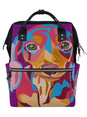 COOSUN Dog Painting Backpack Bag with Insulated Pockets and Stroller Straps, Large Capacity Multi-Function Stylish Bag for Outdoor use
