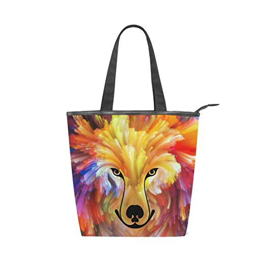 Colourful Tote Canvas Shoulder Handbag with a Dog Painting Design Suitable for Everyday Use