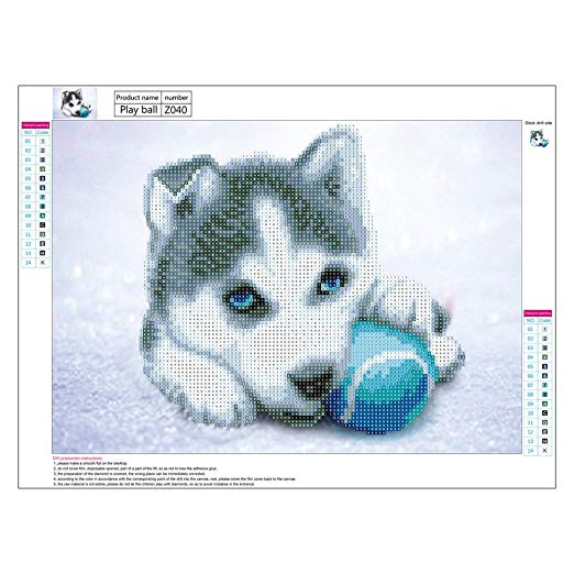 Amazing Dog With Ball Painting 5D Round Diamond Embroidery DIY Canvas and Resin Kit