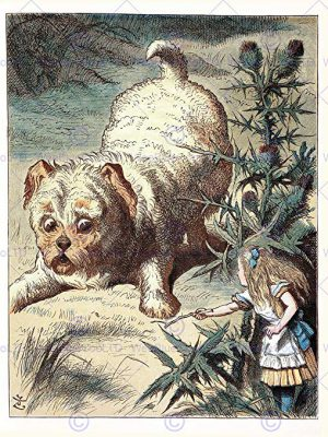 Dog Painting Book Carrol Alice Wonderland Dog Stick Art Print Poster